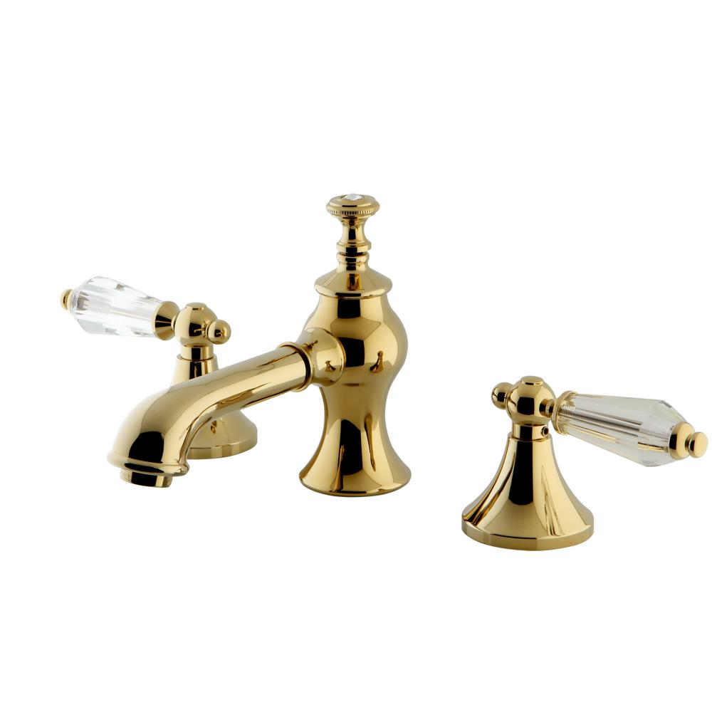 Kingston Brass Crystal Lever 8 In Widespread 2 Handle Mid Arc Bathroom Faucet In Polished Brass