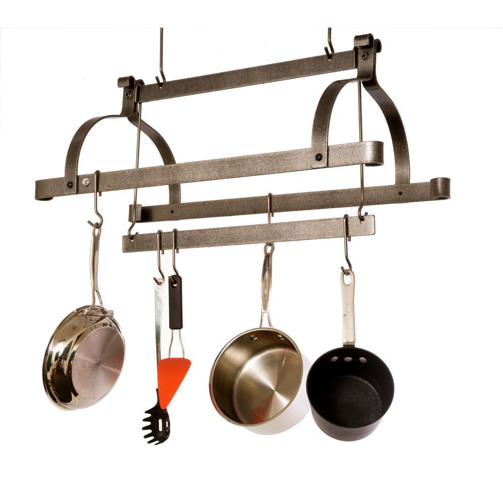 Enclume Hammered Steel 3-Bar Hanging Ceiling Pot Rack by Enclume