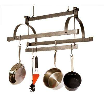 Handcrafted Three Bar Ceiling Pot Rack with 12 Hooks Hammered Steel