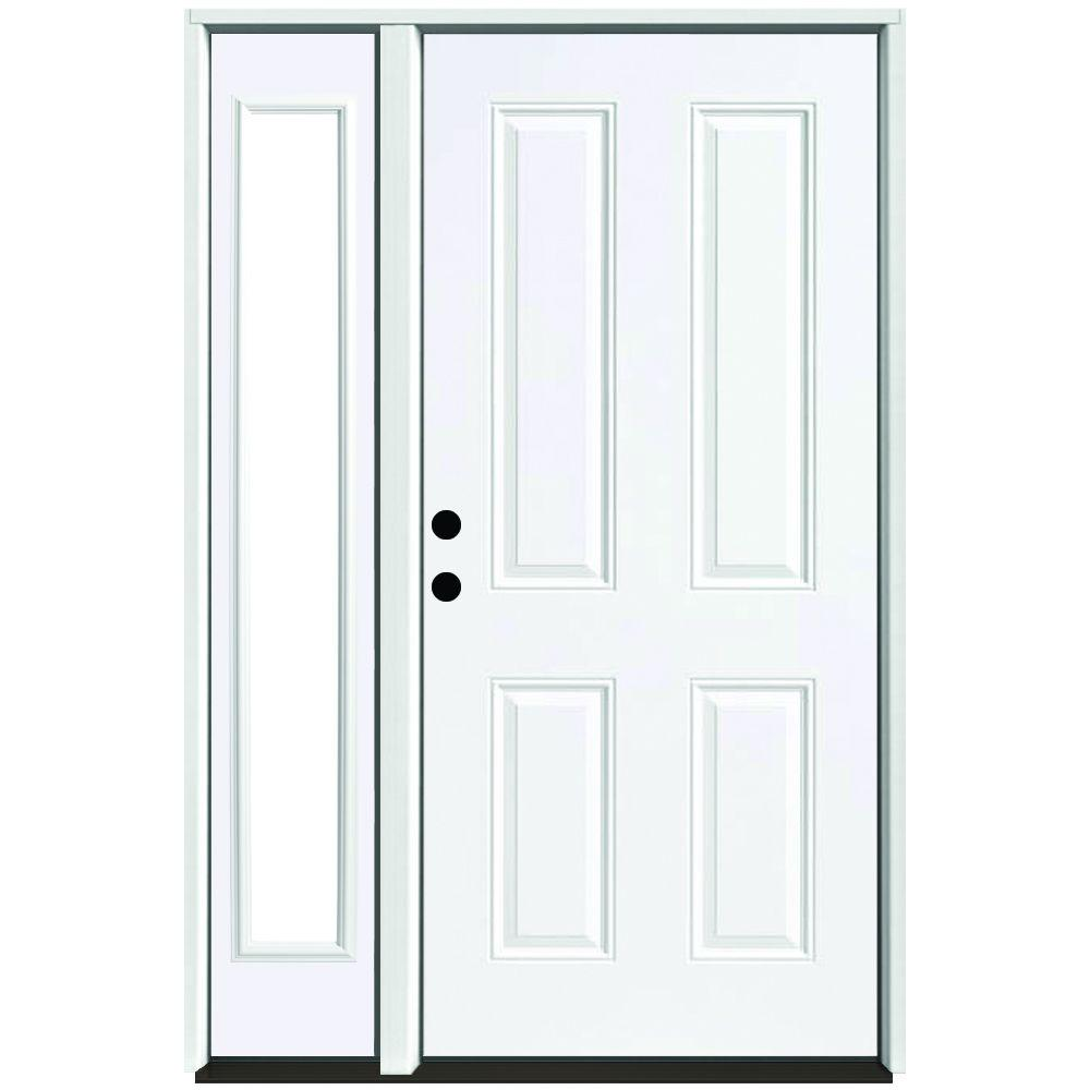 Steves & Sons 53 in. x 80 in. 4-Panel Primed White Right-Hand Steel Prehung Front Door with 14 in. Clear Glass Sidelite 4 in. Wall