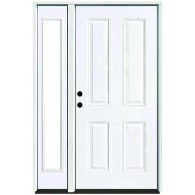 51 in. x 80 in. 4-Panel Primed White Right-Hand Steel Prehung Front Door with 12 in. Clear Glass Sidelite 4 in. Wall