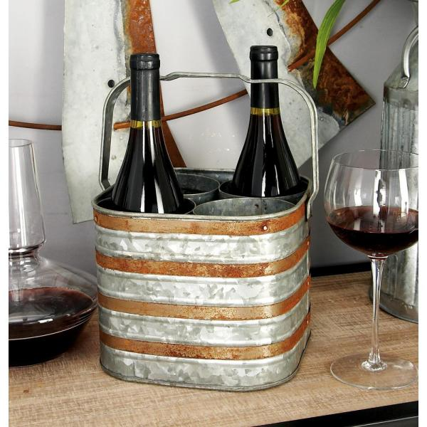 Litton Lane 9 in. x 7 in. 4-Bottle 2-Tone Patina Silver and Brass Wine Holder with Handle