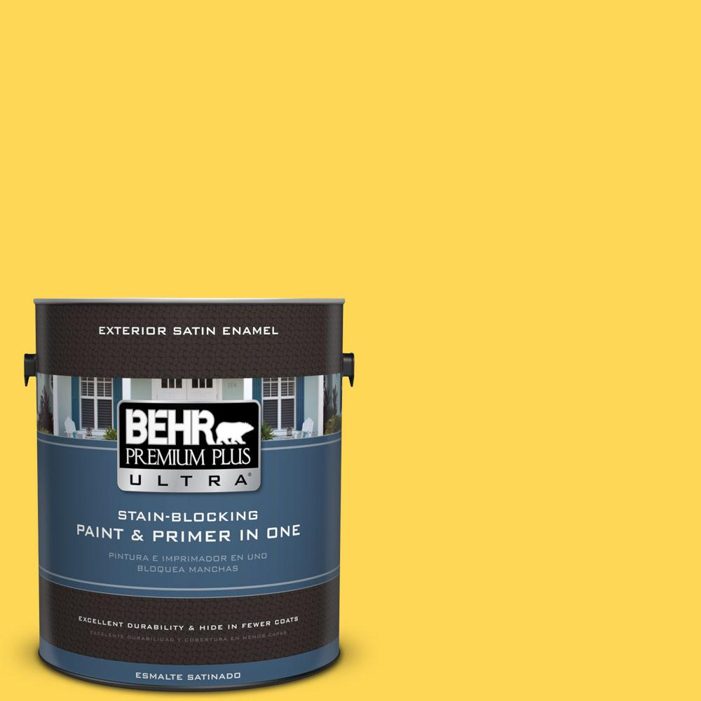 BEHR Premium Plus Ultra 1-gal. #P300-6 Buzz-in Satin Enamel Exterior Paint