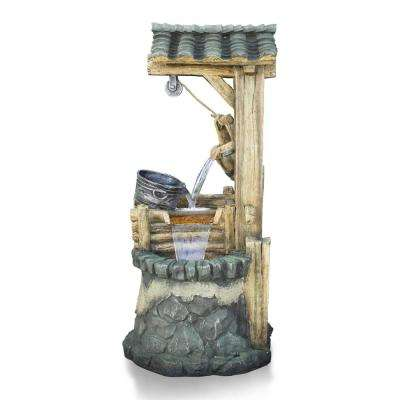 50 in. Tall Stone Well Water Fountain with Tiering Bucket