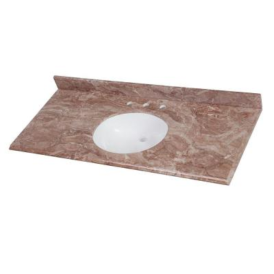 49 in. W x 22 in. D Stone Effects Vanity Top in Mayan Ivory with White Sink