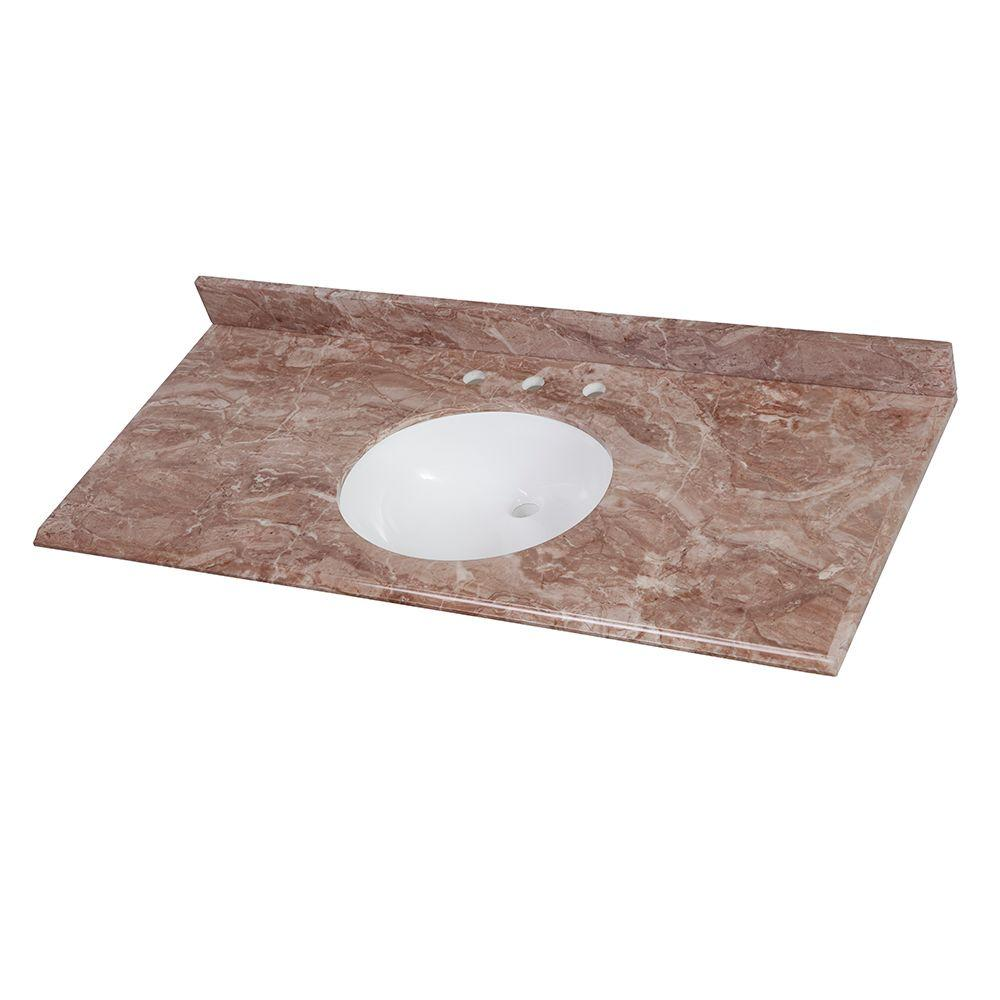 49 in. Stone Effects Vanity Top in Mayan Ivory with White