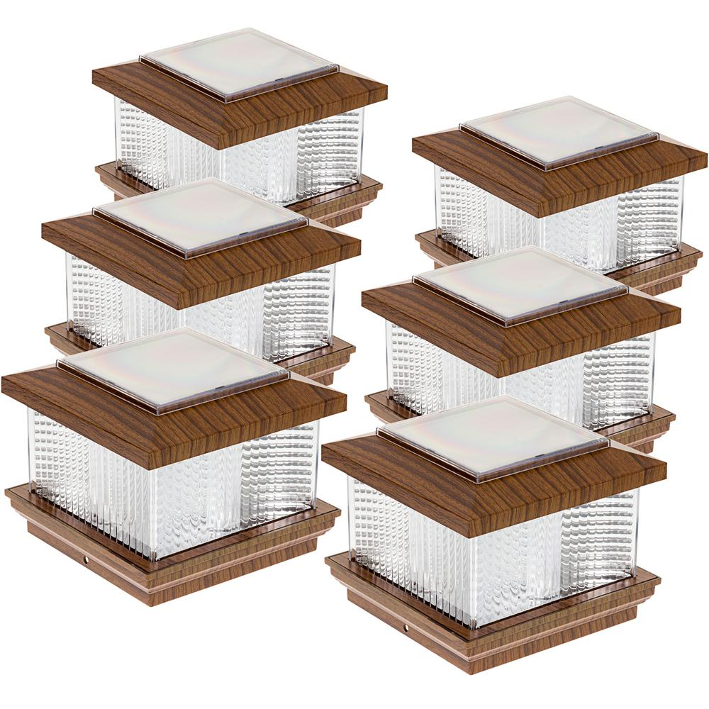 5 in. x 5 in. Solar Powered Integrated LED Wood Grain Pla...