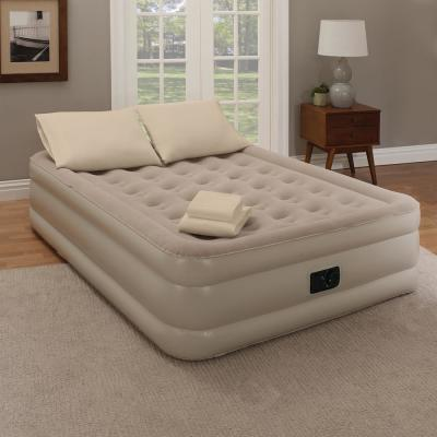 Twin 18 in. Taupe Bedding and Air Mattress Set