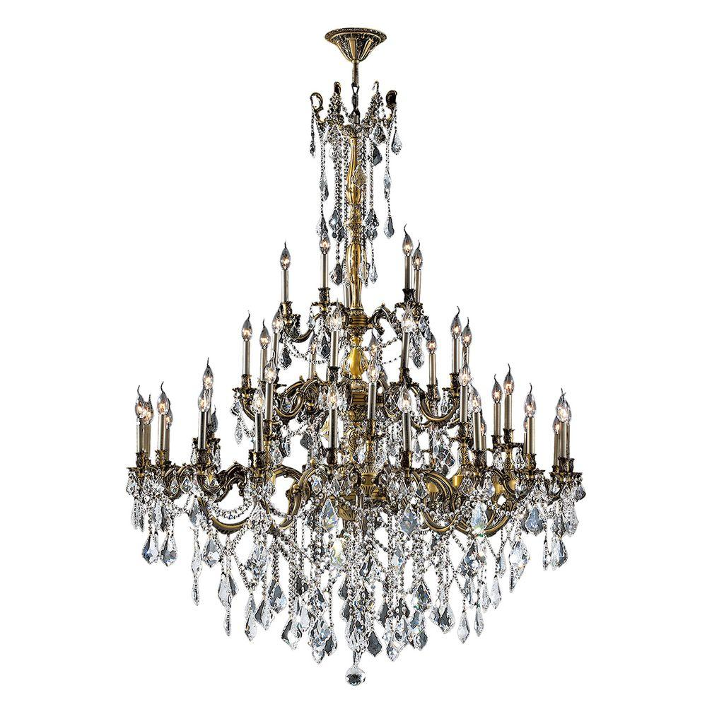 Worldwide Lighting Windsor Collection 45-Light Crystal and Antique Bronze Chandelier