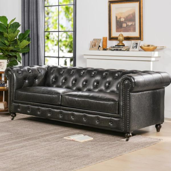 Leather Tufted Chesterfield Sofa
