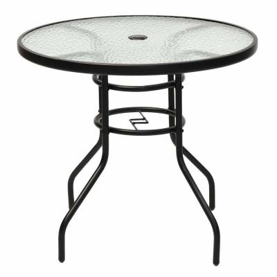 Steel Round Frame Patio Outdoor Bistro Table with Tempered Glass