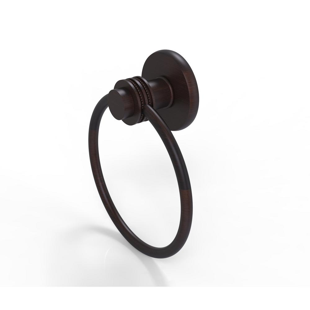 Allied Brass Mercury Collection Towel Ring with Dotted Accent in Venetian Bronze
