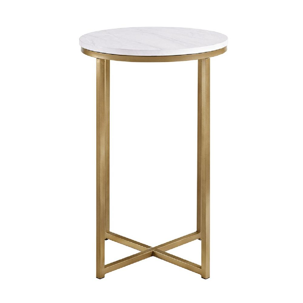 Walker edison furniture company 16 in marble gold round for Round gold side table