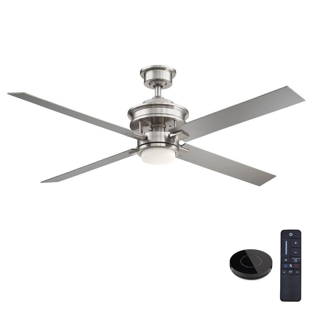 Home Decorators Collection Lincolnshire 60 in. LED Brushed Nickel Ceiling Fan with Light and Remote Control works with Google and Alexa
