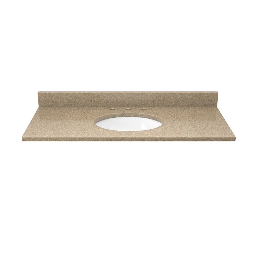 37 in. Quartz Vanity Top in Cognac and Cream with White