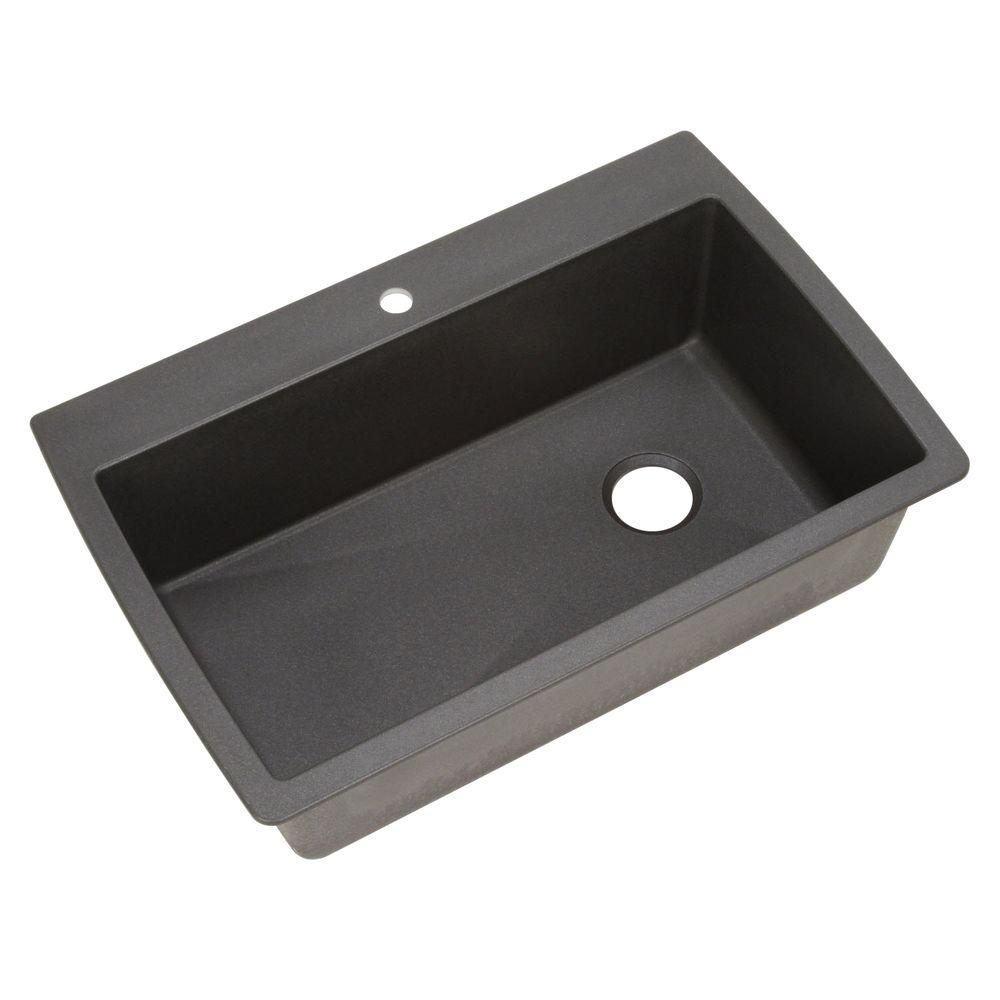 DIAMOND Dual Mount Granite Composite 32.5 in. 1-Hole Single Bowl Kitchen  Sink in Anthracite