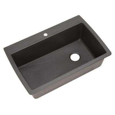 Diamond Dual Mount Granite 33 in. 1-Hole Single Bowl Kitchen Sink in Anthracite