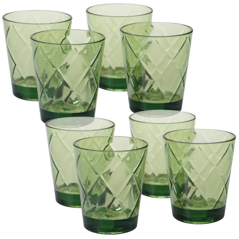 Certified International 15 oz. 8-Piece Green Old Fashion Glass These bright green old fashion glasses with a diamond shaped pattern from Certified International will add a pop of color to your next gathering. Each glass measures 3.75 in. x 4.5 in. Made of heavy weight and durable acrylic, these glasses are perfect for indoor and outdoor use.