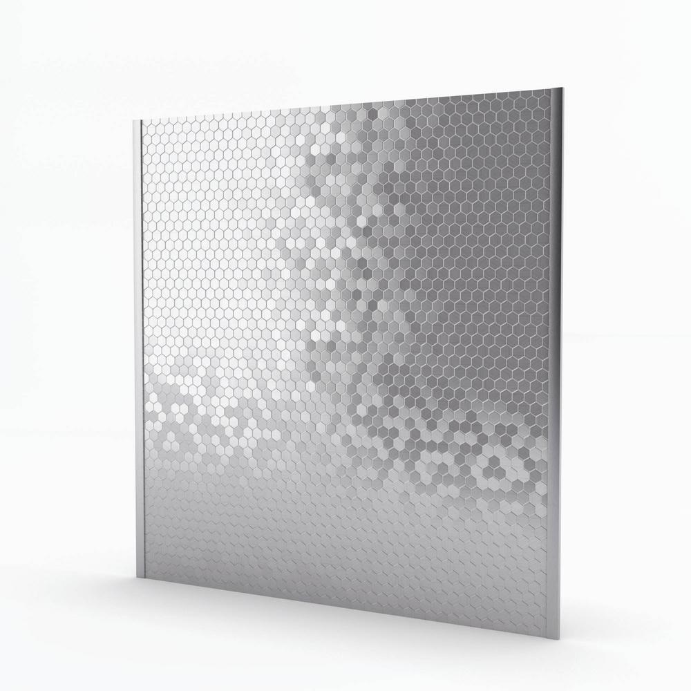 Hexagonia Stainless 29.61 in. x 30.47 in. x 5mm Metal Self-Adhesive Range Backsplash Mosaic Tile (6.26 sq. ft.)