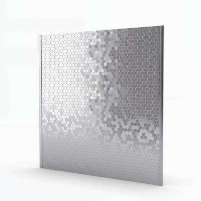 Hexagonia Stainless 29.61 in. x 30.47 in. x 5mm Metal Self-Adhesive Range Backsplash Mosaic Tile (6.26 sq. ft.)