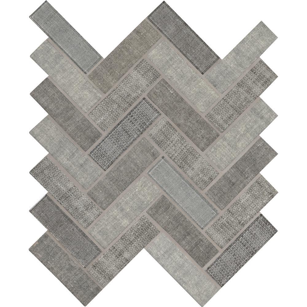 Textalia Herringbone 12.8 in. x 11.02 in. x 6 mm Glass Mesh-Mounted Mosaic Tile (14.55 sq. ft. / case)
