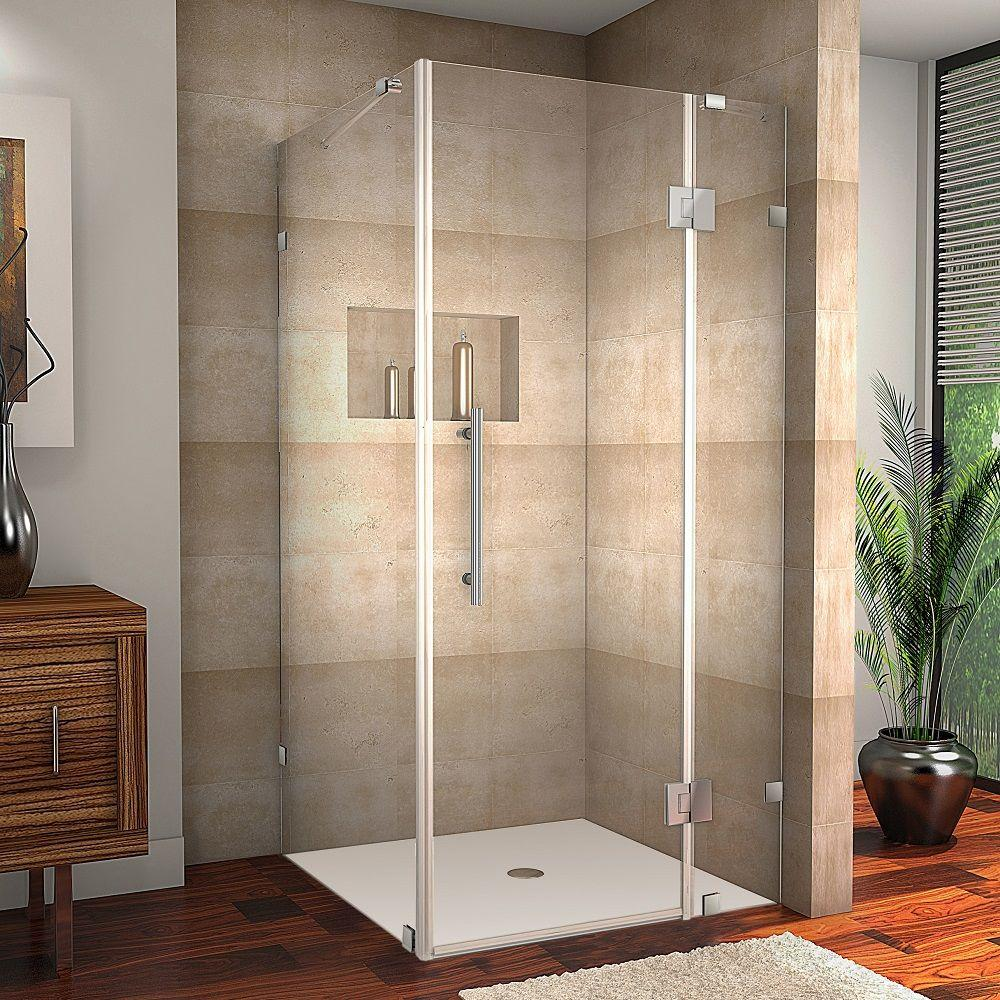 Aston Avalux 38 in. x 72 in. Frameless Shower Enclosure in Stainless Steel with Self Closing Hinges