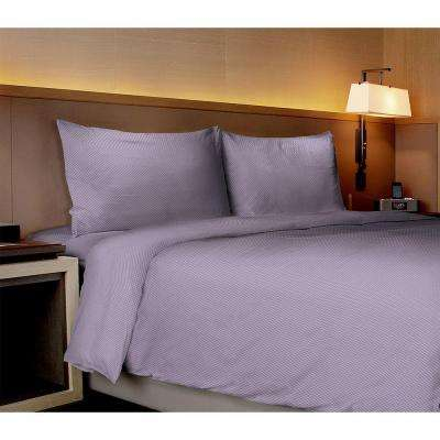 Willow Collection Checkerboard Purple King Sheet Set (4-Piece)