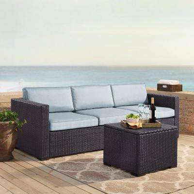 Biscayne 3-Person Wicker Outdoor Seating Set with Mist Cushions - 1 Loveseat, 1 Corner and Coffee Table