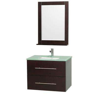 Centra 30 in. Vanity in Espresso with Glass Vanity Top in Aqua and Square Porcelain Undermounted Sink