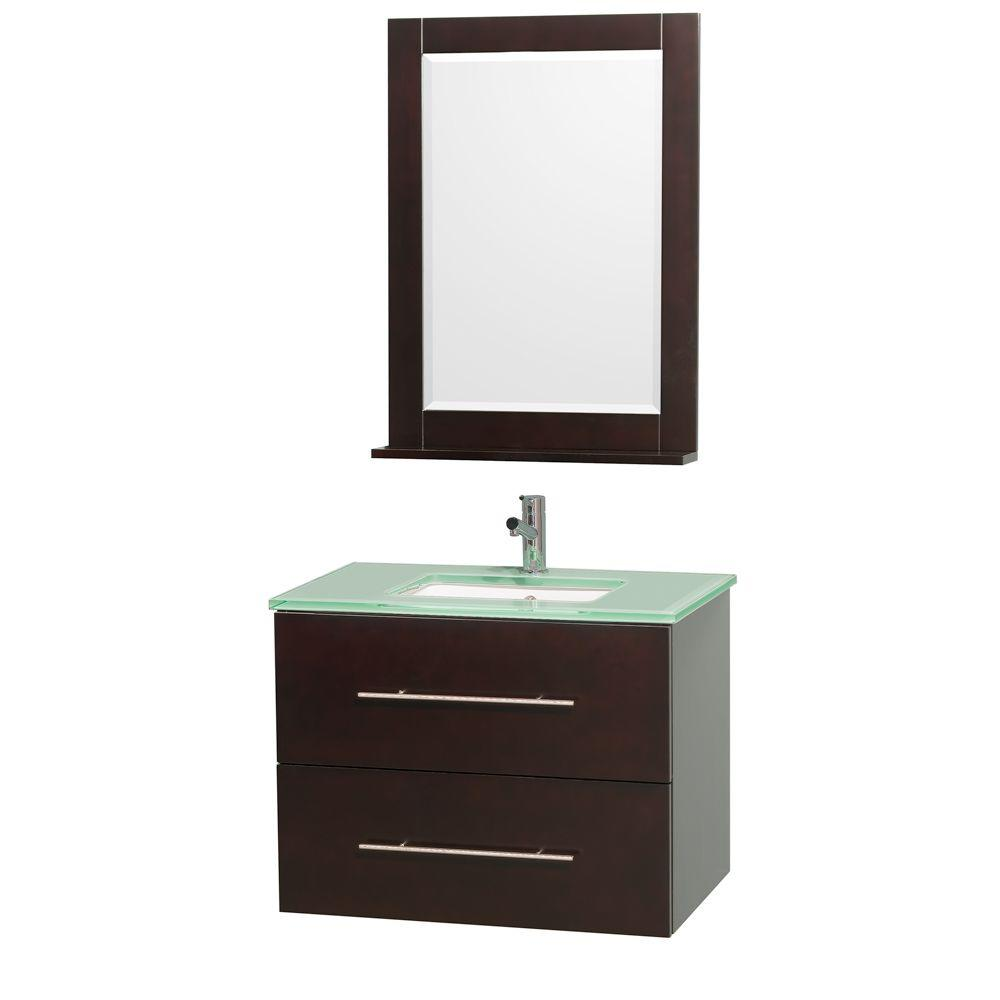 Wyndham Collection Centra 30 in. Vanity in Espresso with Glass Vanity Top in Aqua and Square Porcelain Undermounted Sink
