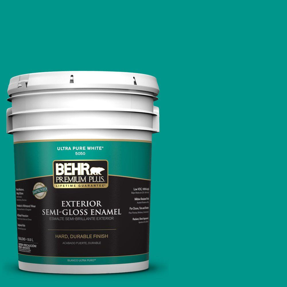 BEHR Premium Plus 5-gal. #S-G-490 Intense Teal Semi-Gloss Enamel Exterior Paint