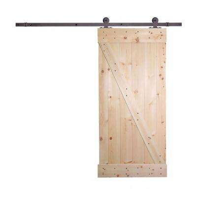 36 in. x 84 in. Unfinished Knotty Pine Wooden Door with Top Mount Barn Door Sliding Track Hardware