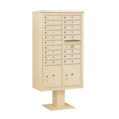 3400 Series 70-1/4 in. 15 Door High Unit Sandstone 4C Pedestal Mailbox with 18 MB1 Doors/2 PL5