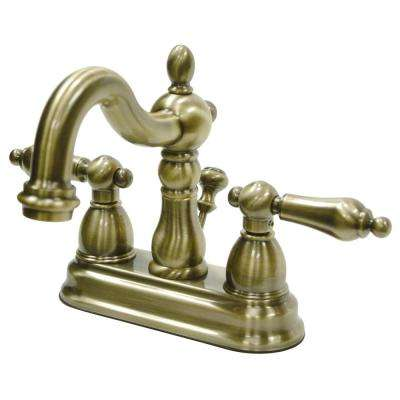 Victorian 4 in. Centerset 2-Handle Bathroom Faucet in Antique Brass