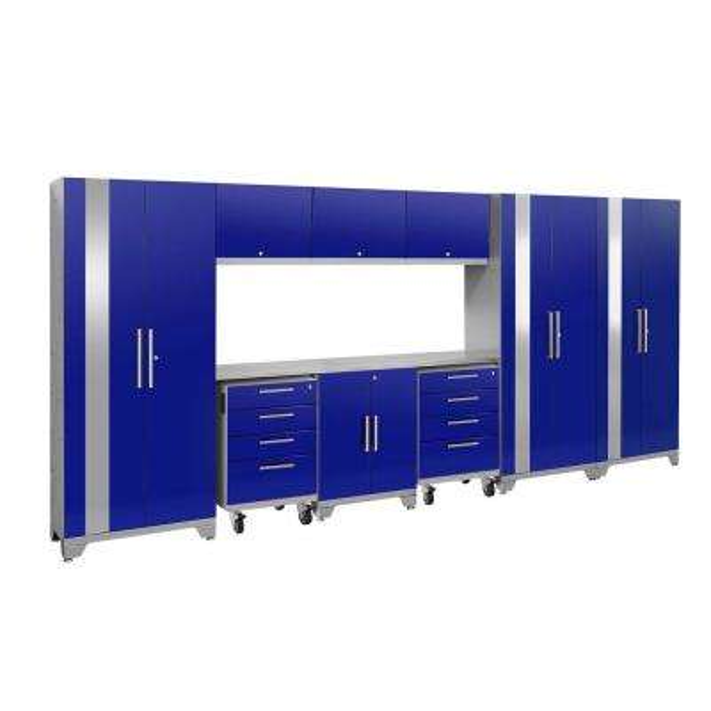 Performance 2.0 77.25 in. H x 162 in. W x 18 in. D Steel Stainless Steel Worktop Cabinet Set in Blue (10-Piece)
