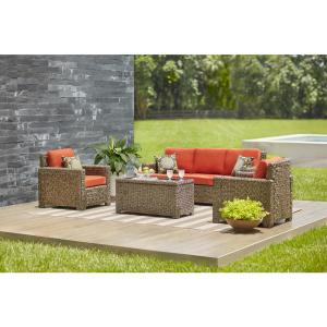 Hampton Bay Laguna Point 4-Piece Brown All-Weather Resin Wicker Patio Deep... by Hampton Bay