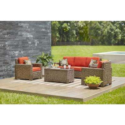 Beau Laguna Point 4 Piece Brown All Weather Resin Wicker Patio Deep Seating Set  With