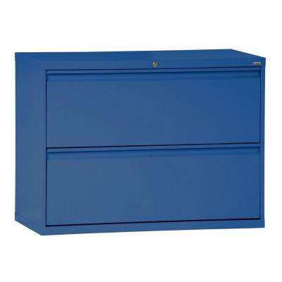 800 Series 36 in. W 2-Drawer Full Pull Lateral File Cabinet in Blue