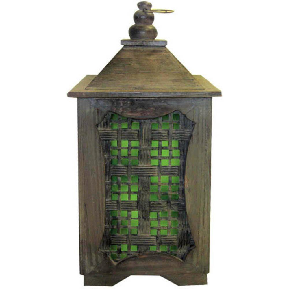 15 in. Solar Temple Lantern with Green Light