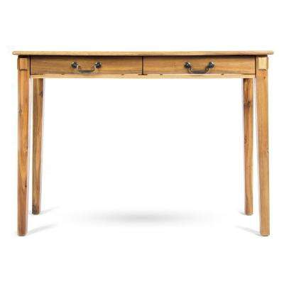 Celia Classic Natural Stained Brown Acacia Wood 2-Drawer Console Table