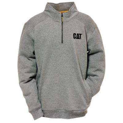 Canyon Men's Size X-Large Dark Heather Grey Cotton/Polyester 1/4 Zip Sweatshirt