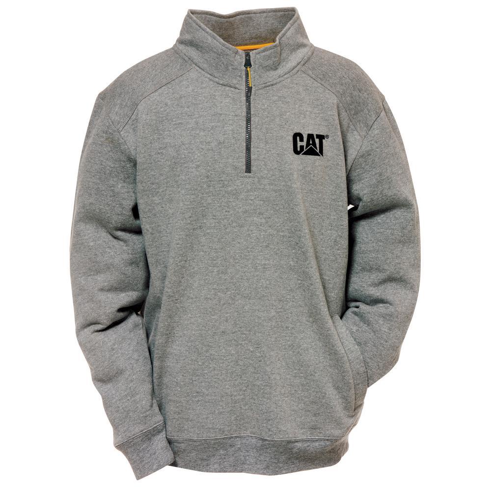 Canyon Men's Size X-Large Dark Heather Grey Cotton/Polyester 1/4 Zip Sweatshirt