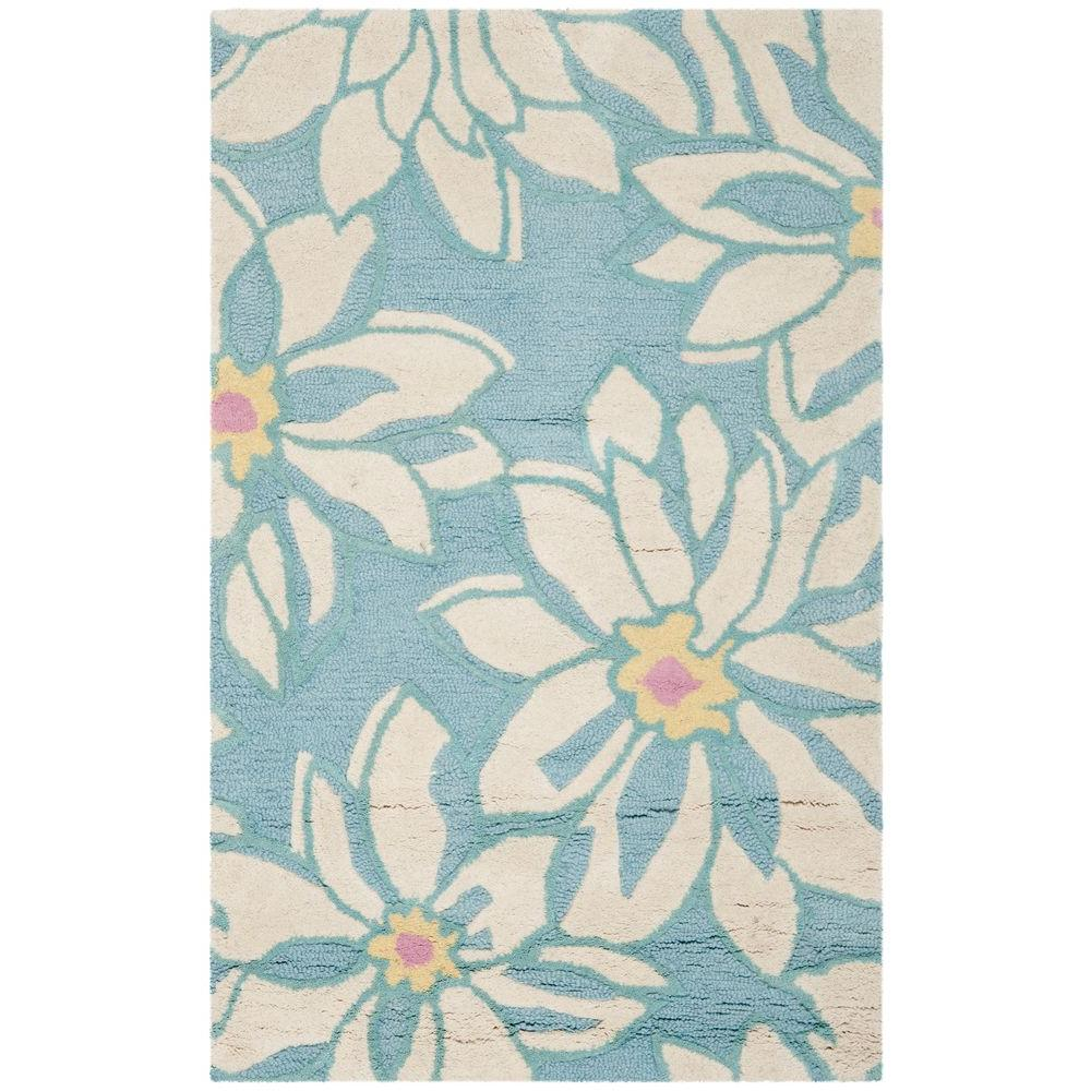 Blossom Light Blue/Ivory 3 ft. x 5 ft. Area Rug