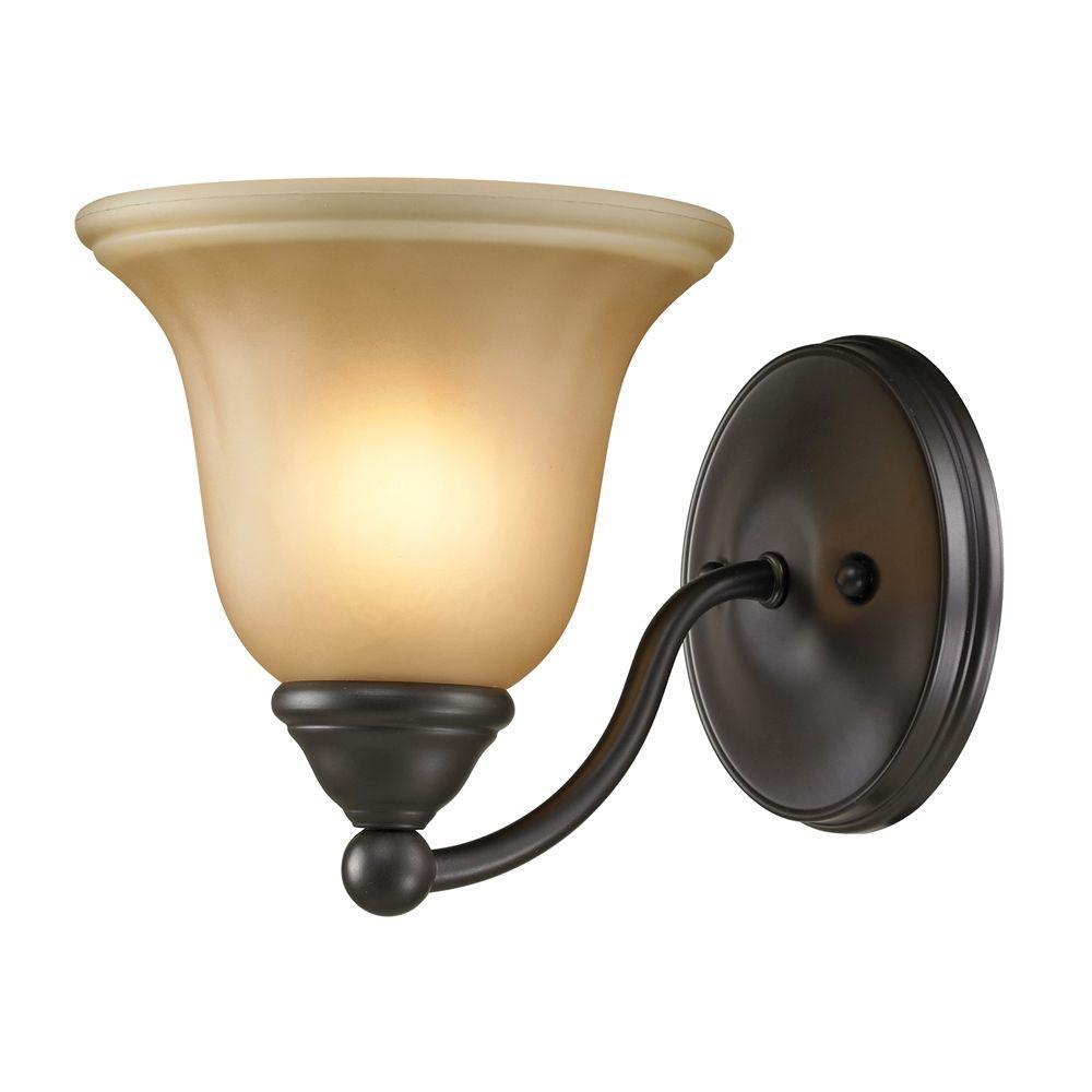 Titan Lighting Shelburne 1-Light Oil-Rubbed Bronze Wall Mount Bath Bar Light