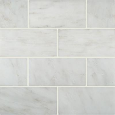 Arabescato Carrara Beveled 3 in. x 6 in. Honed Marble Floor and Wall Tile (1 sq. ft. / case)