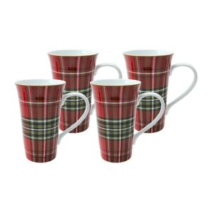 222 Fifth Wexford Plaid Latte Mugs Set of 4 Deals