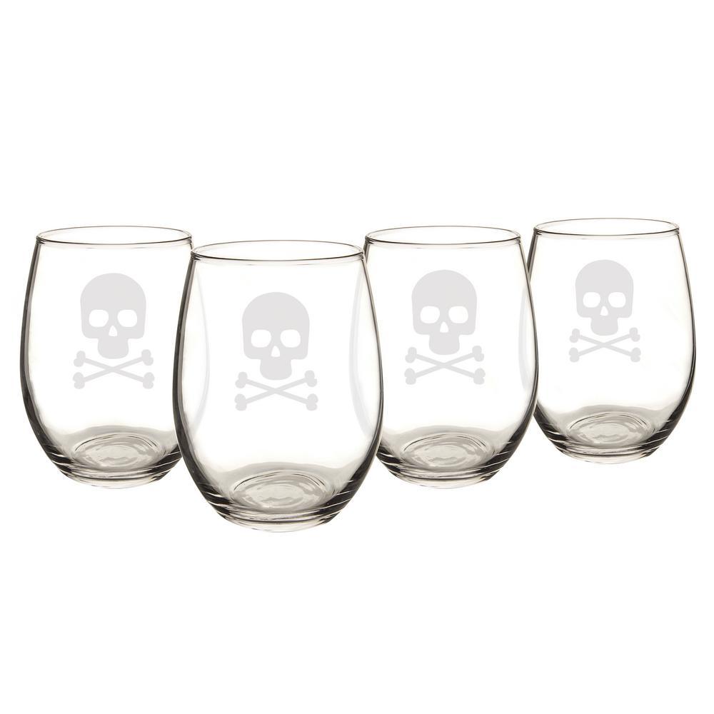 Skull & Crossbones 21 oz. Stemless Wine Glasses (Set of 4)