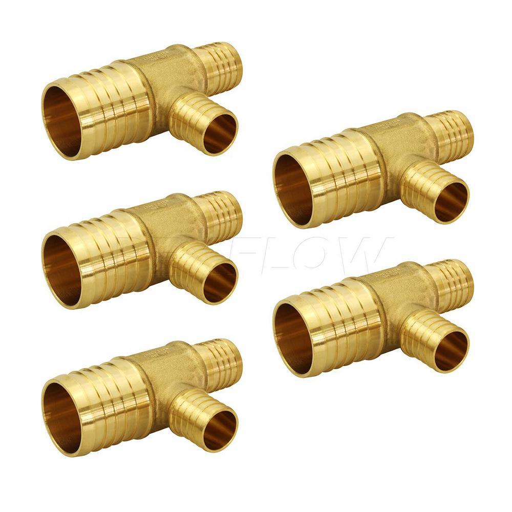 1 in. x 3/4 in. x 1/2 in. Brass PEX Barb Reducing Tee Pipe Fittings (5-Pack)