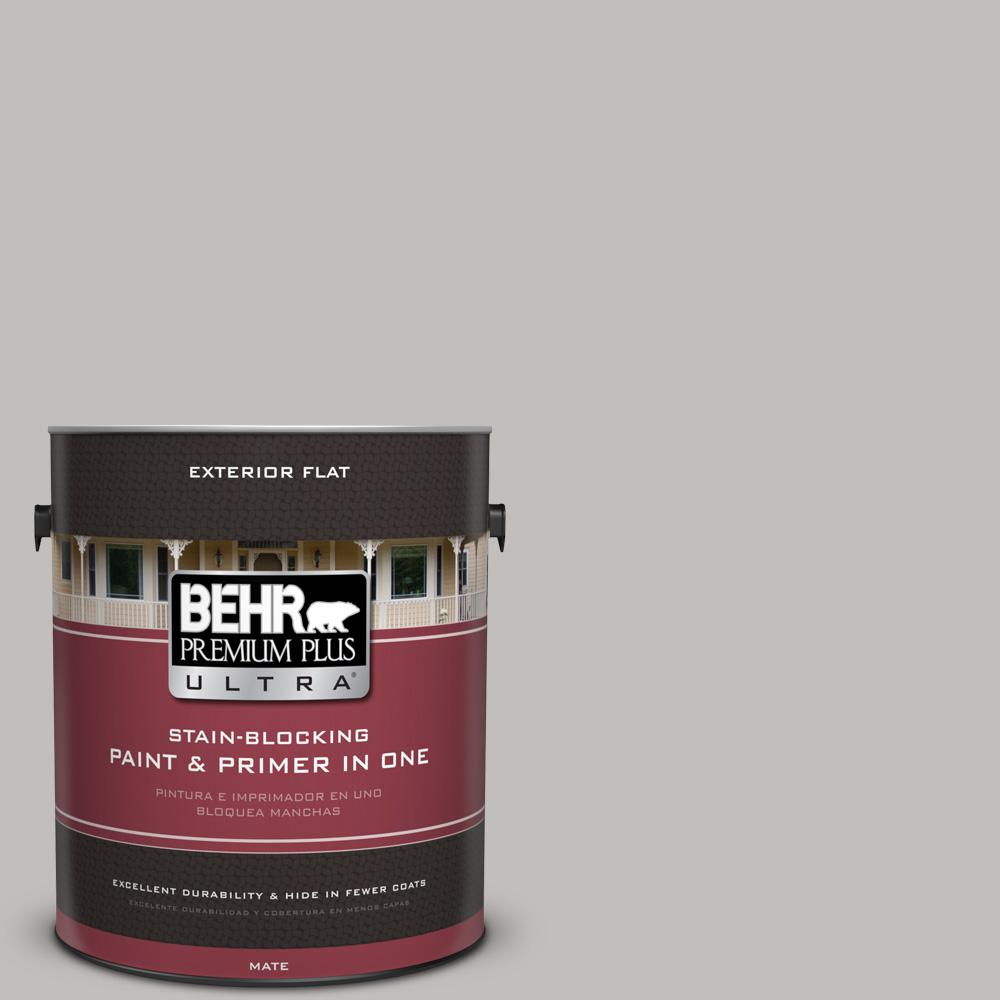 BEHR Premium Plus Ultra 1 gal. #UL260-11 Natural Gray Flat Exterior Paint