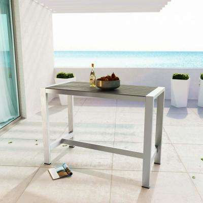 Shore Patio Aluminum Rectangle Bar Height Outdoor Dining Table in Silver Gray